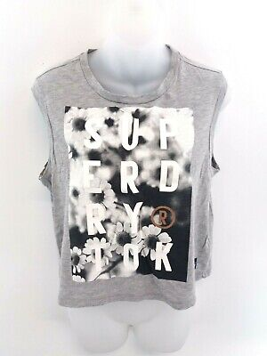 Superdry Womens Vest Top S Small Grey Cotton & Polyester
