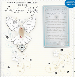 DEEPEST SYMPATHY ON THE LOSS OF YOUR WIFE CARD,WITH SENTIMENTAL KEEPSAKE CARD S2