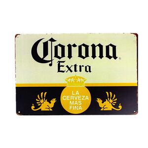 Corona Extra Beer Sign Metal Tin Logo Vintage Wall Decor