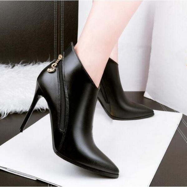 botas tacón de aguja bajo negro perno elegantes 10 cm como piel 8001