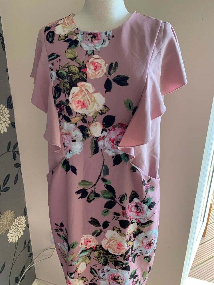 Phase Huit Robe Rose Livvy Floral Taille 16 Bnwt