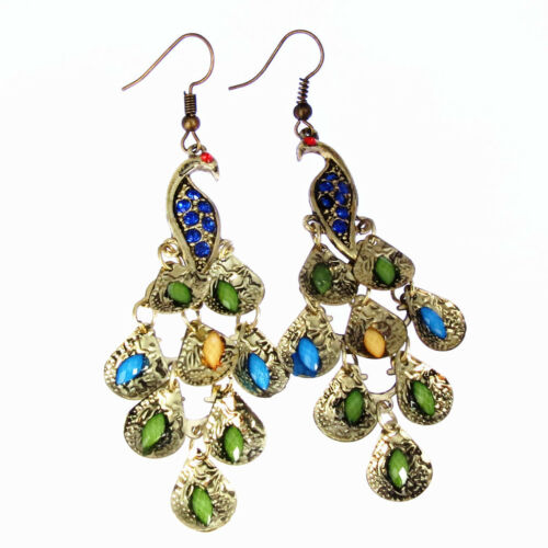 Femmes Bleu Vintage Strass Paon-Motif Larme Tail Dangle Earrings