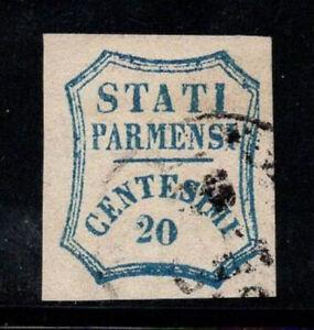 Parma-1859-Sass-11-Usato-100-Firmato-Cardillo-20-c-Governo-Provvisorio