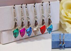 Handmade-Rhinestone-Diamante-Drop-Earrings-925-Silver-Wires