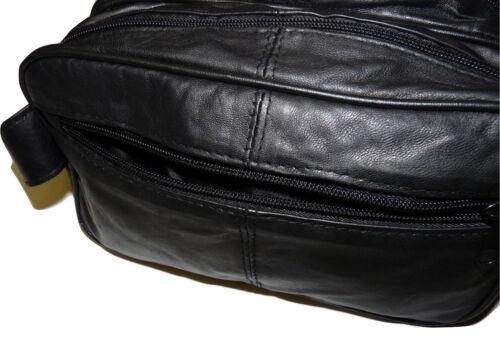 Jumbo Homme Véritable Cuir Souple Washbag Double Top Zip Gents Extra Large New