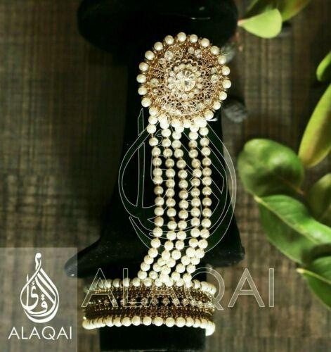 Indian Pakistani Bollywood Bridal Hand Piece Panja Adjustable Ring Bracelet