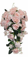 PINK CASCADE BRIDAL BOUQUET Roses Silk Wedding Flowers Arch Gazebo Centerpieces