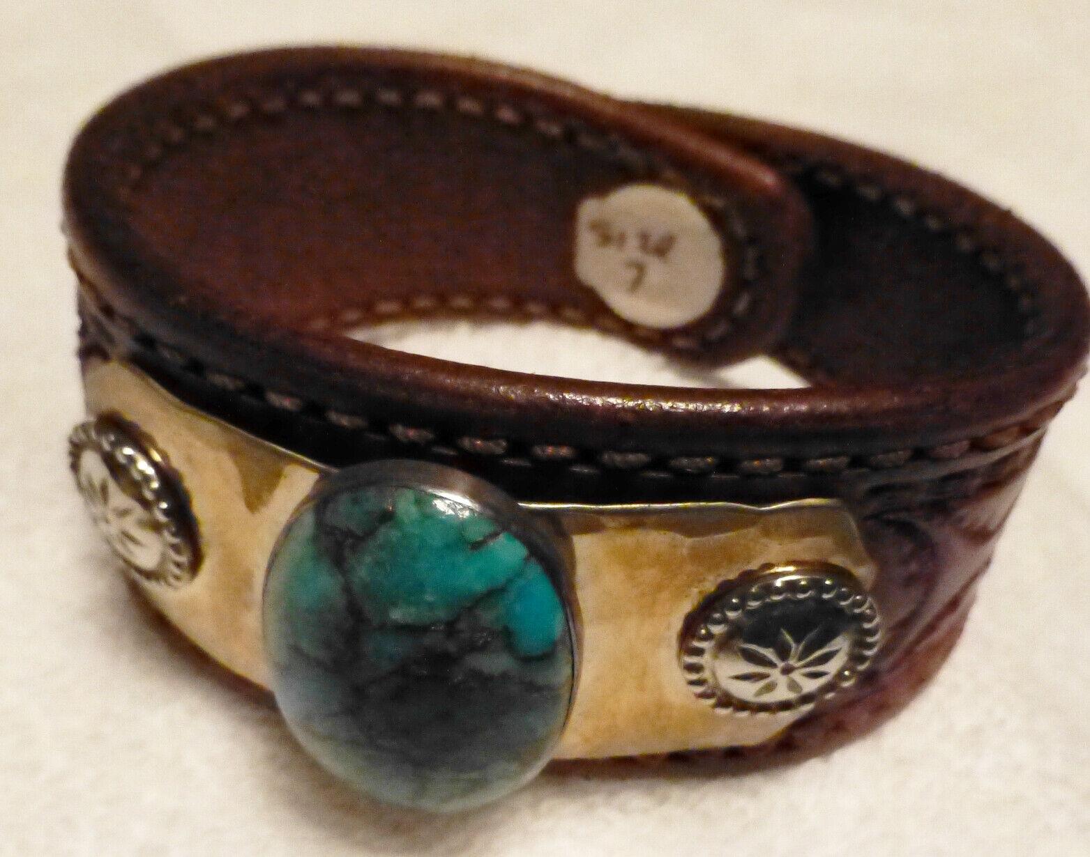 Hand Tooled Leather Bracelet Turquoise Stone Concho Boxed (sz 7) NEW