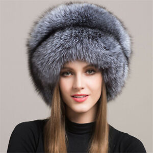 100 Genuine Real Silver Fox Fur Hat Winter Women S Fur Hat With Tail Warm Cap Ebay