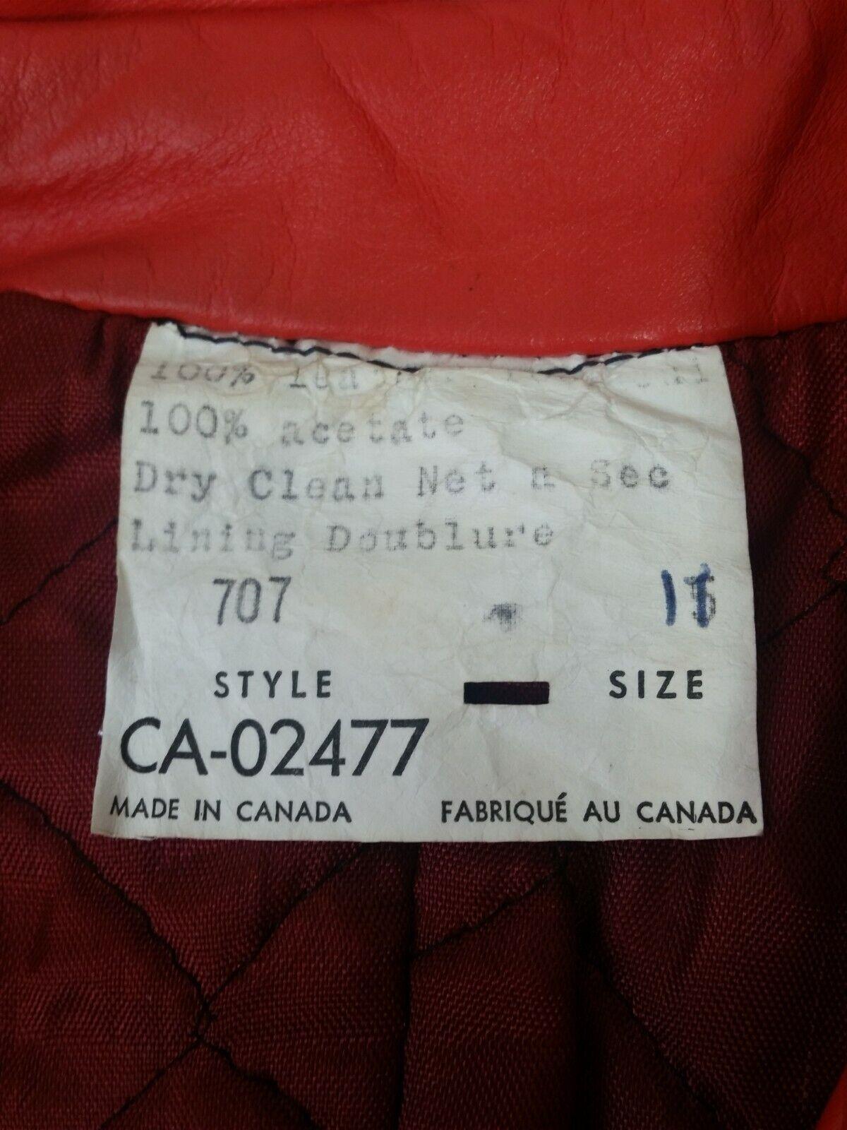 Vintage Orange Leather Womens Jacket Mod 1970s XS - image 11
