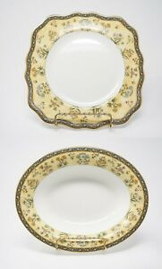 Wedgwood-India-England-Bone-China-Bowl-Dish-Plate-Gold-Rim-Florals-Blue-Yellow