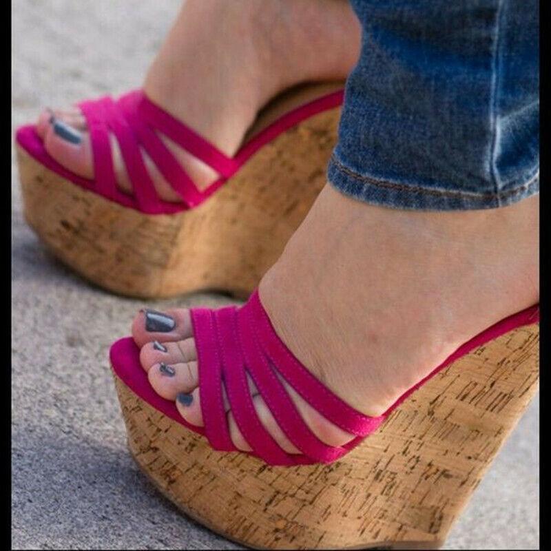 Super High Heel Damenschuhe Open Toe Keilabsatz Pumps Platform Sandalen Schnalle