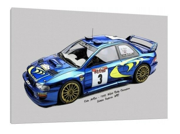 Colin McRae 30x20 Inch Canvas Subaru Impreza WRC Rally Framed Picture