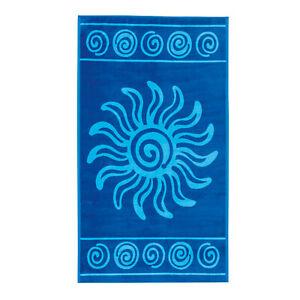 Frottee-Strandtuch-Strandlaken-TROPICAL-Sonne-100x180cm-oder-180x200cm-blau
