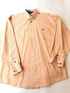 Wrangler-Twenty-X-Western-Mens-L-Orange-Plaid-Long-Sleeve-Shirt-Cowboy-Rodeo