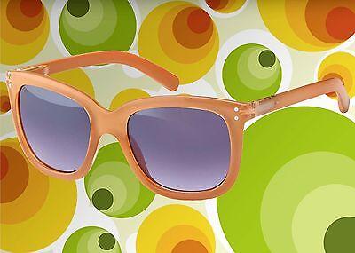 A549✪ Hippie Sonnenbrille 60er 70er Jahre Kult Schlager Hornbrille braun