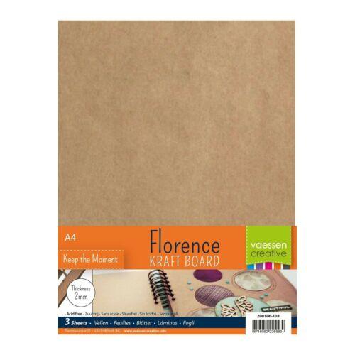 A... Set of 3 Rectangular Sheets Vaessen Creative Florence Chipboard Craft 2mm