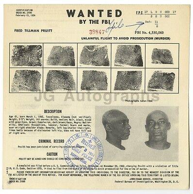 1954 D Wanted Mailer C Fred Tillman Pruitt/murder Washington Fbi