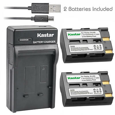 Dual Charger Battery A2 // Sigma SD1 Merril // Pentax K20D and more compare list NP-400 BP-21 USB Cable micro USB included D-Li50 for Konica-Minolta Dimage A1