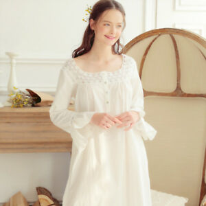 162c79b229 Image is loading Womens-Long-Sleeve-White-Nightgown-Cotton-amp-Lace-
