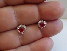 925 STERLING SILVER HEART SHAPE STUD EARRINGS W/ 1.10 CT RUBY & ACCENTS