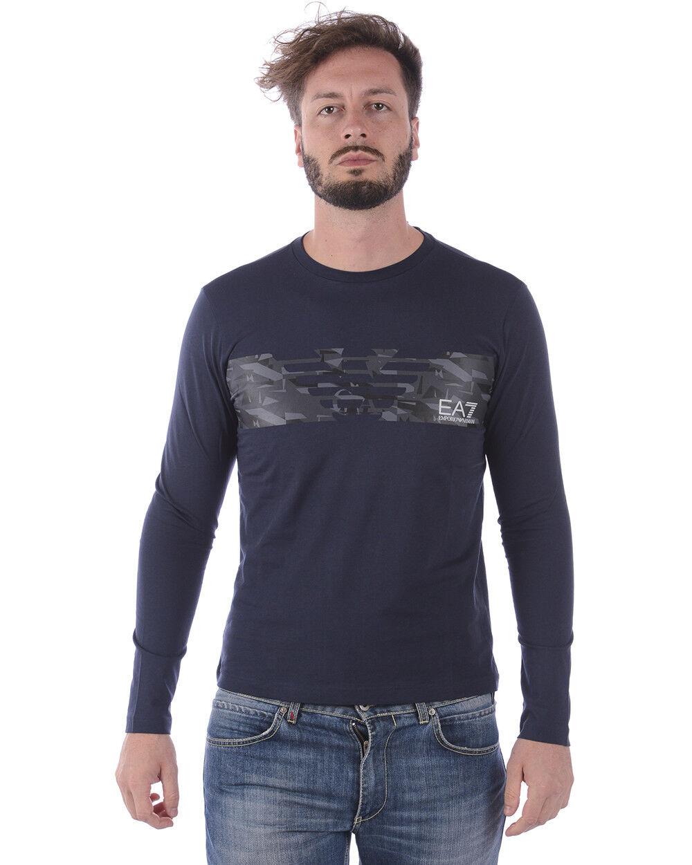 T shirt Maglietta Emporio Armani EA7 Sweatshirt Cotone herren Blau 3ZPT47PJ30Z 1554