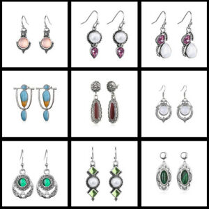 Plated-Gemstone-Jewelry-Hook-Eardrop-Ear-Studs-Drop-Dangle-Moonstone-Earrings