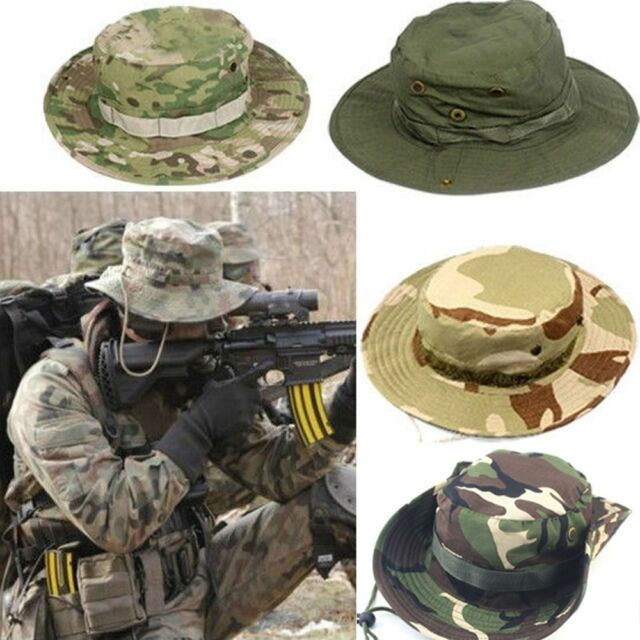 8e53f31afb1 Bucket Hat Wide Brim Military Hats Sun Hat Boonie Hunting Fishing Outdoor  Cap