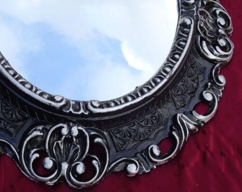 Wandspiegel Spiegel SCHWARZ SILBER OVAL 45x38 BAROCK Antik REPRO Vintage 345 12*