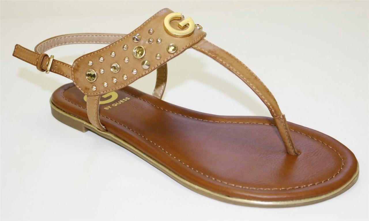 Women's shoes G by GUESS DIME Thong Sandals Flip Flops Rhinestones Studs Natural