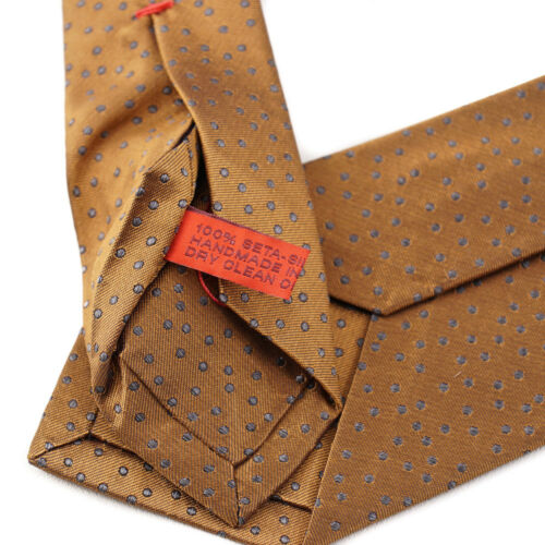 New $230 ISAIA NAPOLI Bronze and Gray Woven Dot Pattern Silk Tie
