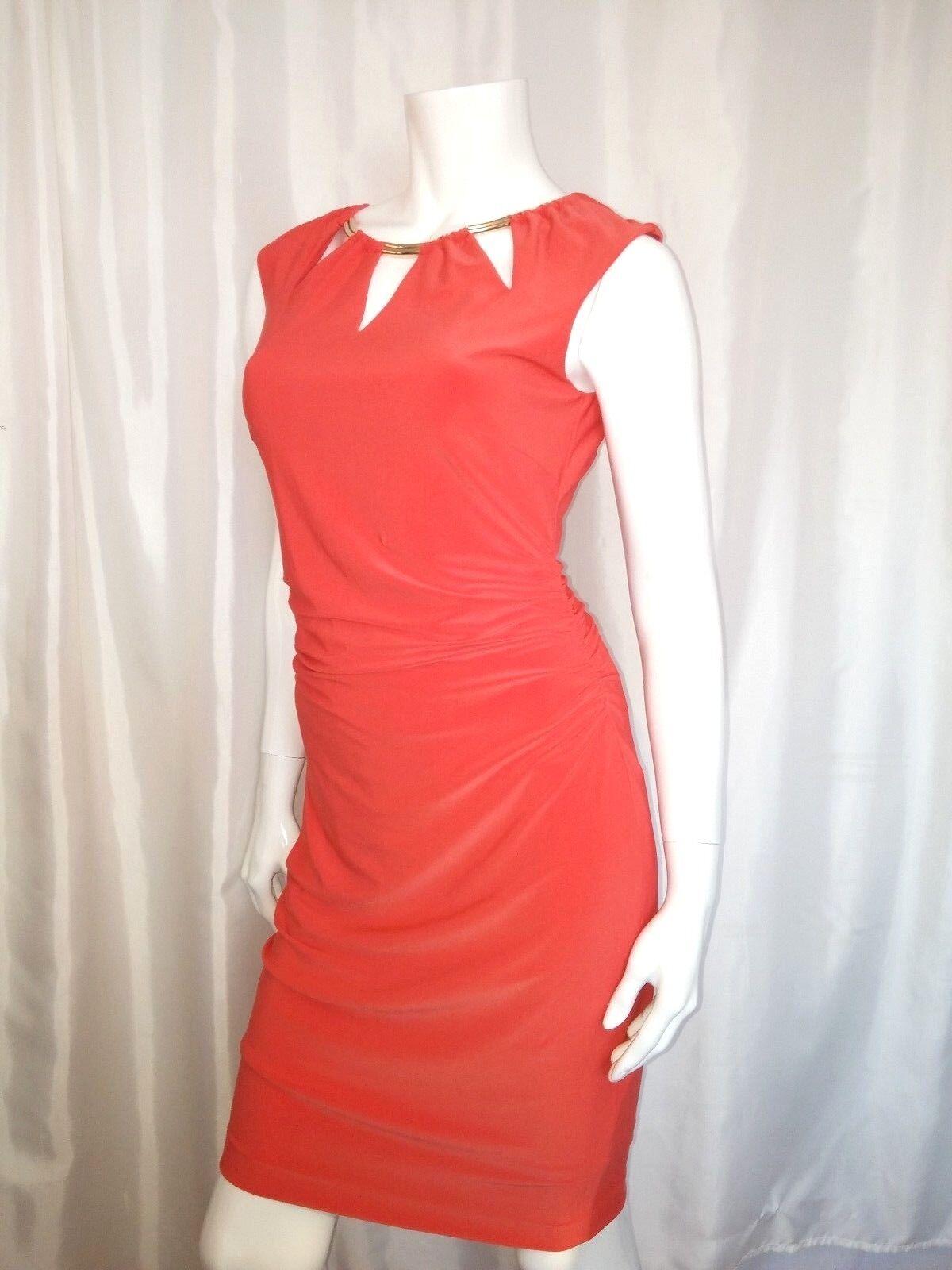 NWT Sexy CACHE Salmon Red Stretch Key Hole Dress   6 M