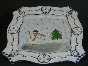 """RCCL Hand Painted Serving Tray/Platter 12"""" Snowman Winter Scene, Portugal, Mint!"""