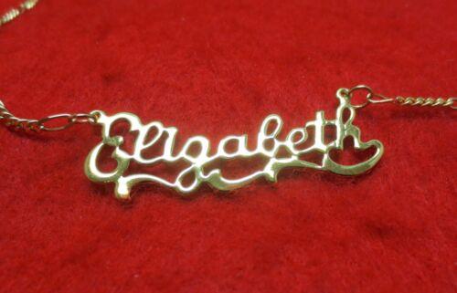14KT GOLD EP 2MM FIGARO ANKLET OR NECKLACE WITH ELIZABETH NAME CHARM PENDANT