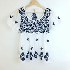 Raga Womens Top Size L White Blue Sheer Embroidered Peasant Boho Festival Blouse