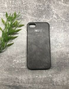 promo code 2ae82 99160 Details about Grey Pu Leather Apple iPhone 7/8 Plus phone case Personalised  With Name/initials