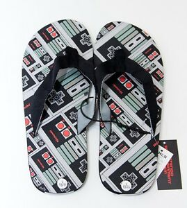 c03ed44bb21 Nintendo Sandals Mens Black Flip Flops Sz Large Size 10 - 11 NEW  30 ...