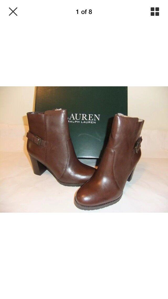 NIB new in box 8B RALPH LAUREN Cabrey Dark Brown Leather Ankle Boot Bootie