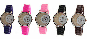 Rose-Gold-Silicon-Band-Women-039-s-Round-Face-Fashion-Watch-With-Floating-Crystals