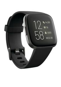 Fitbit Versa 2 Health and Fitness Smartwatch, Black/Carbon Aluminum #FB507BKBK