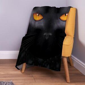 Black-Cat-Eyes-Halloween-Design-Soft-Fleece-Throw-Blanket