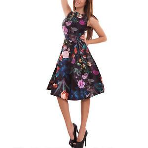 Vestito-donna-abito-skater-svasato-ruota-fiori-collo-quadrato-nuovo-M111200-2