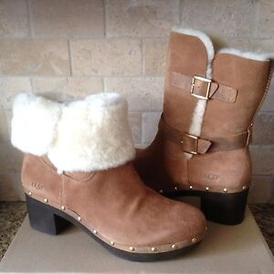 b052abcaaca Details about UGG BREA CHESTNUT SUEDE CUFF CLOG HIGH HEEL ANKLE / SHORT  BOOTS SIZE US 7 WOMENS