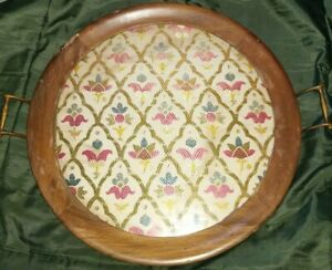Vintage-Royal-Rochester-Tapestry-Glass-amp-Wood-Serving-Tray-brass-handles