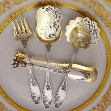 Antique Art Nouveau French Sterling Silver Hors d'Oeuvre / Dessert Set, Thistle