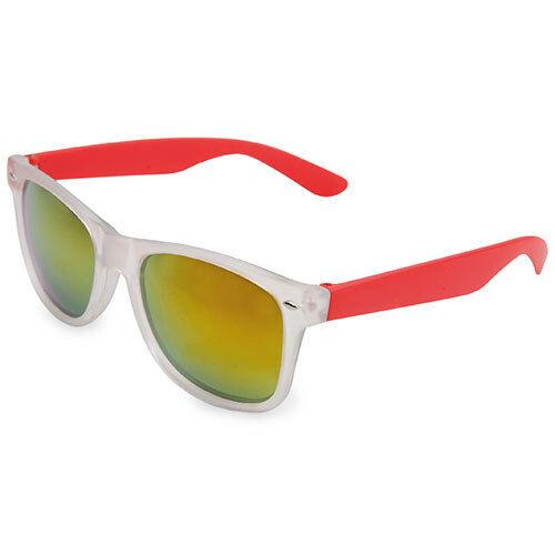 Sunglasses Retro Wayfarer Transparent with Sideburns Red