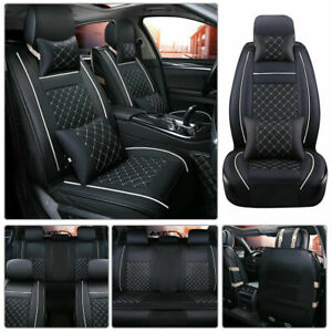 US Size M Car Seat Cover Front+Rear Cushion 5-Seat PU Leather w//Pillow