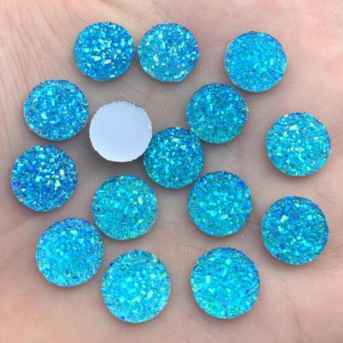 A55 Crystal AB 12 mm 80Pcs Flatback Resin Dotted Round Rhinestone Cabochon Gems