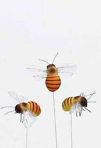 12 Deko Bienen Am Stab Fruhjahrsdeko Floristik Biene Basteln