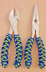 Fishing-Plier-Set-CUSTOM-TURKS-HEAD-KNOT-Handle-with-Bonus-Plier-Sheath-P209-S